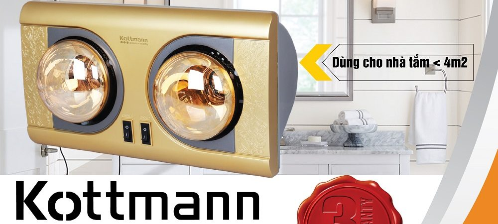 Đèn sưởi nhà tắm Kottmann 2 bóng treo tường – K2BNV