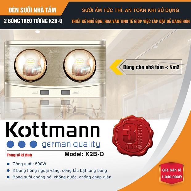 Đèn sưởi nhà tắm Kottmann 2 bóng treo tường – K2BQ