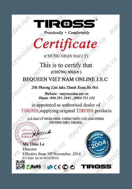 giấy chứng nhận đại lý máy sưởi dầu tiross